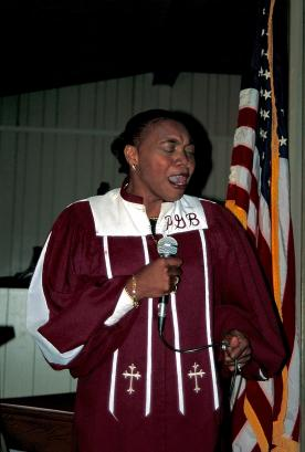 China Pettway singing at Pleasant Grove Baptist Church