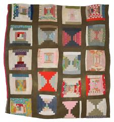 "Loretta Pettway - ""Log Cabin""—twenty-block sampler variation (local name: ""Bricklayer"") - Master Image"