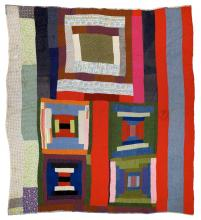 """Lucy T. Pettway, """"Housetop"""" and """"Bricklayer"""" blocks with bars, c. 1955"""