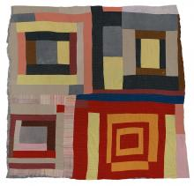 """Mary L. Bennett, """"Housetop""""—four block variation, c. 1965"""